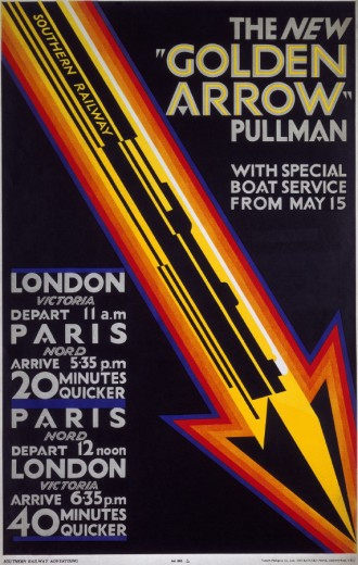 'The New Golden Arrow Pullman´, SR poster, 1929. : Stock Photo