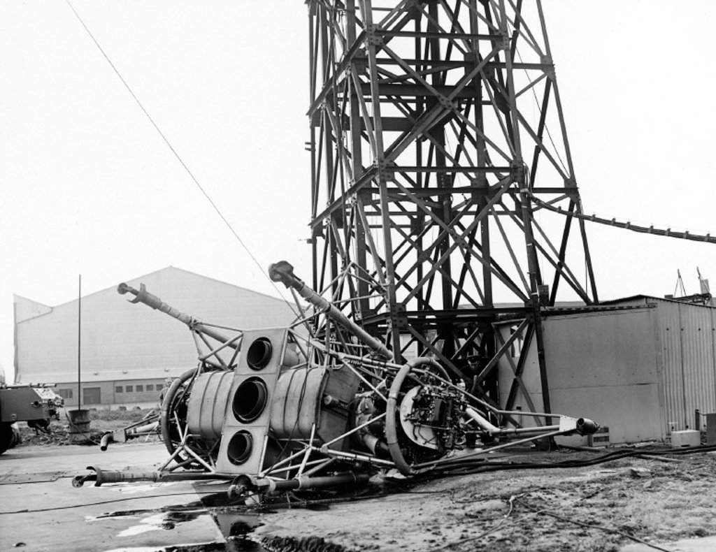 'Flying Bedstead' after its accident, Hucknall, Nottinghamshire, 1957. : Stock Photo