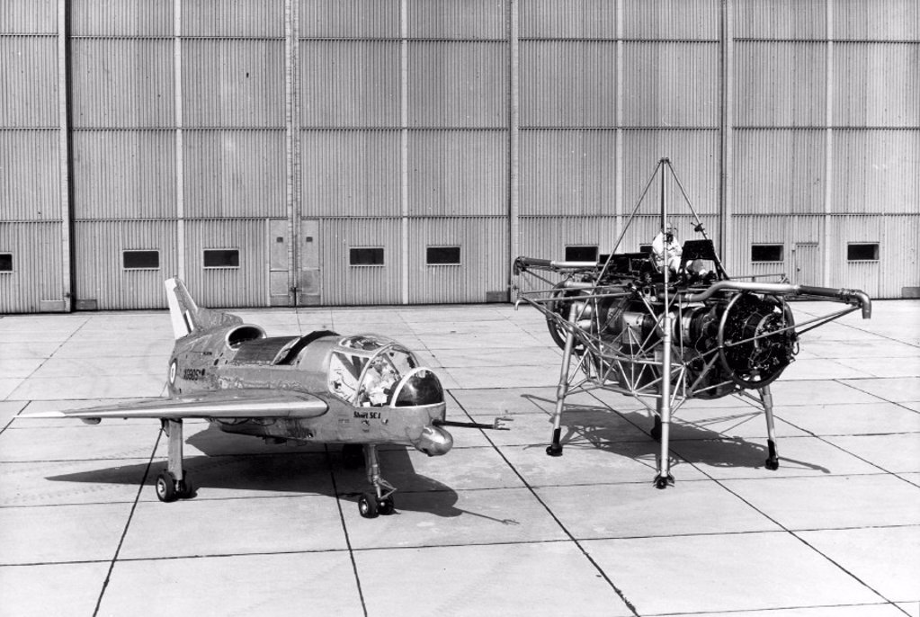 Stock Photo: 1895-32917 'Flying Bedstead' and the Short SC1 VTOL research aircraft, 1950s.