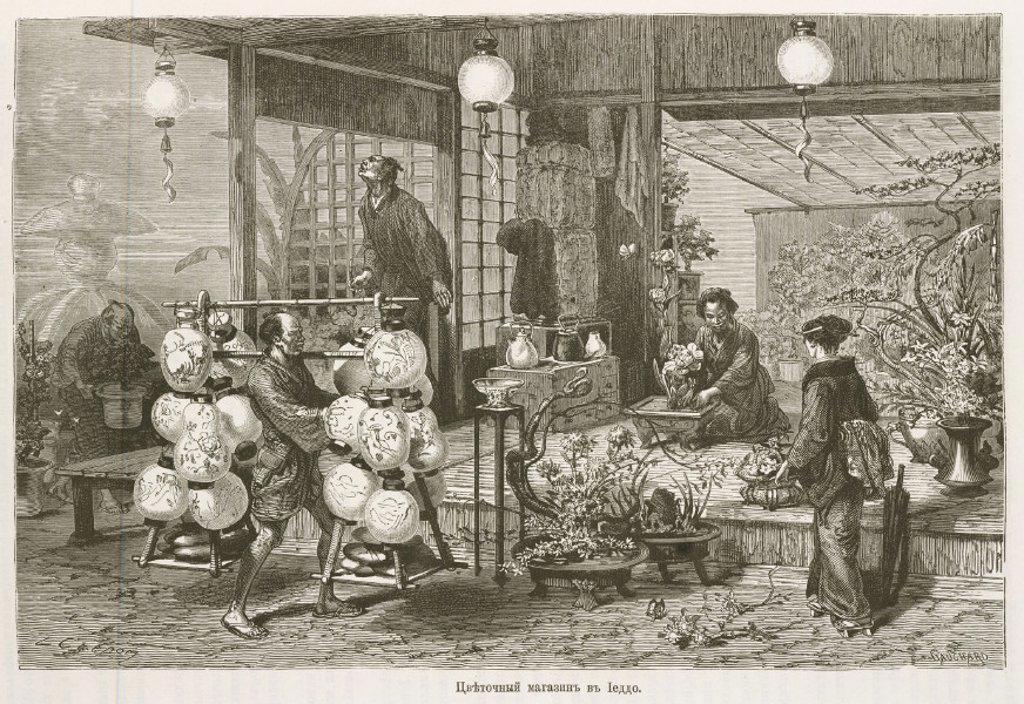 Florist's shop, Japan, 1863-1864. : Stock Photo