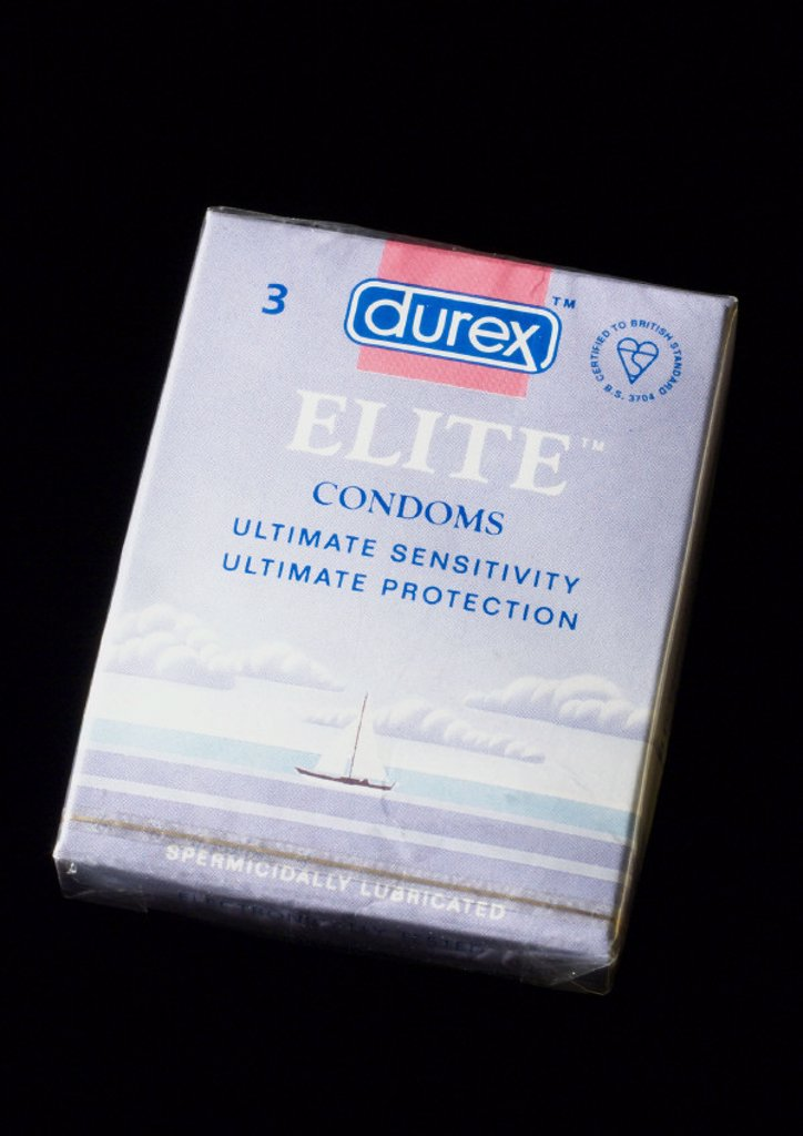 Packet of three Durex Elite condoms, 1995. : Stock Photo