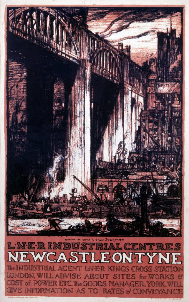 Stock Photo: 1895-3329 ´LNER Industrial Centres - Newcastle on Tyne´, LNER poster, c 1924.