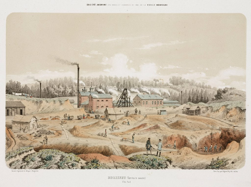 Zinc mine, Neutral Moresnet, 1855. : Stock Photo