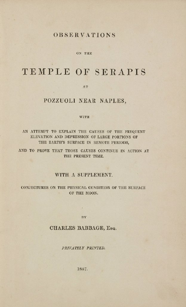 Title page to 'Observations on the Temple of Serapis', 1847. : Stock Photo