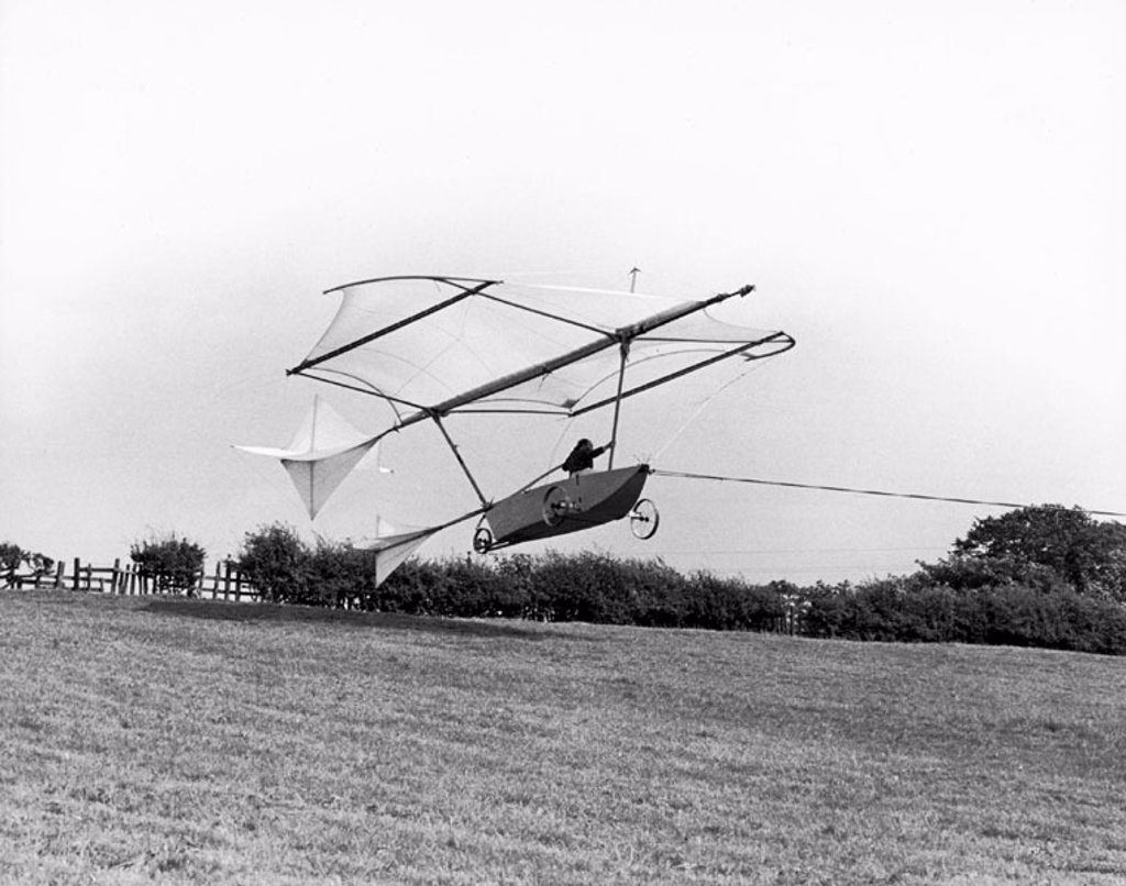 Reconstructed Cayley man carrier of 1853 seen in towed flight . : Stock Photo