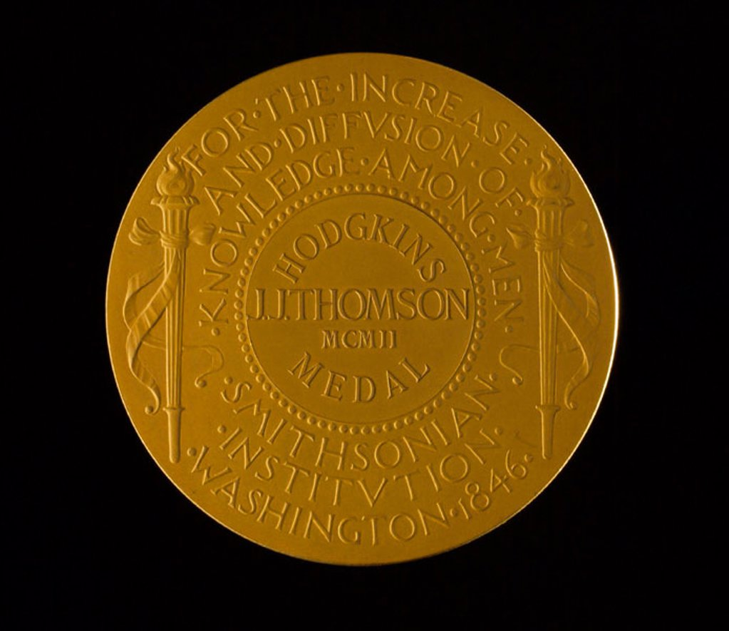 Stock Photo: 1895-33920 Hodgkins Medal of the Smithsonian Institution, 1902.