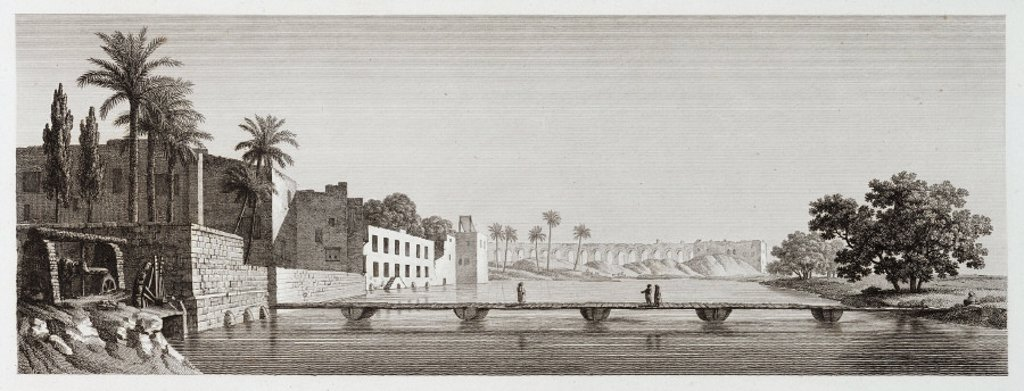 A branch of the River Nile at the Island of Roudah, Egypt, c 1798. : Stock Photo