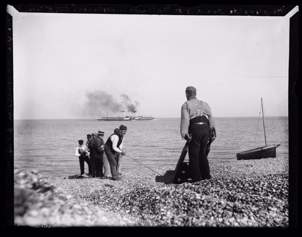 'Ploughing The Beach: SS Kohinoor in distance', 1904 : Stock Photo