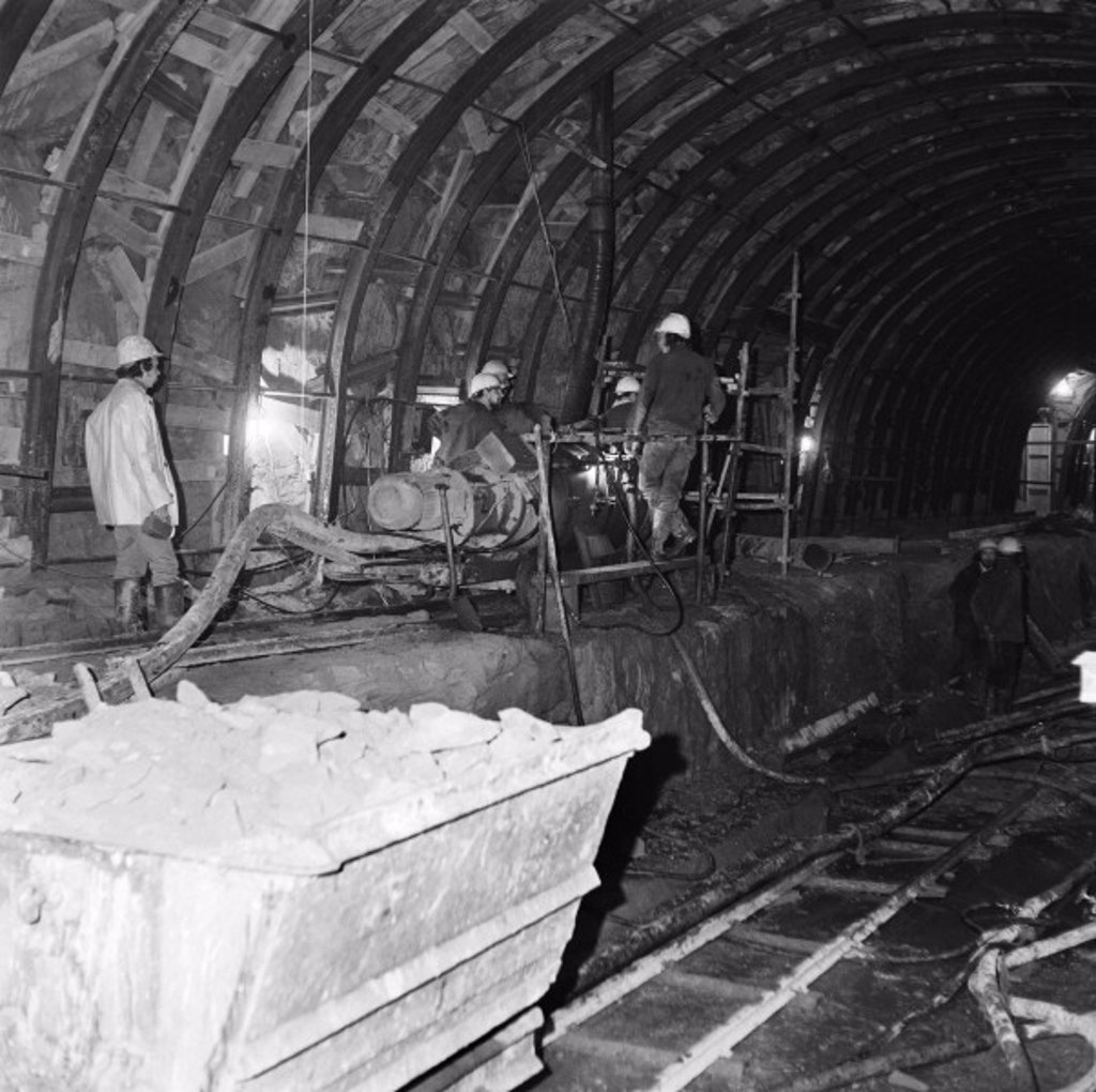 Tunnel being built, 1973 : Stock Photo