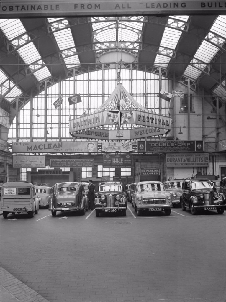 Stock Photo: 1895-34985 Cars at Birmingham Snow Hill station, 1951