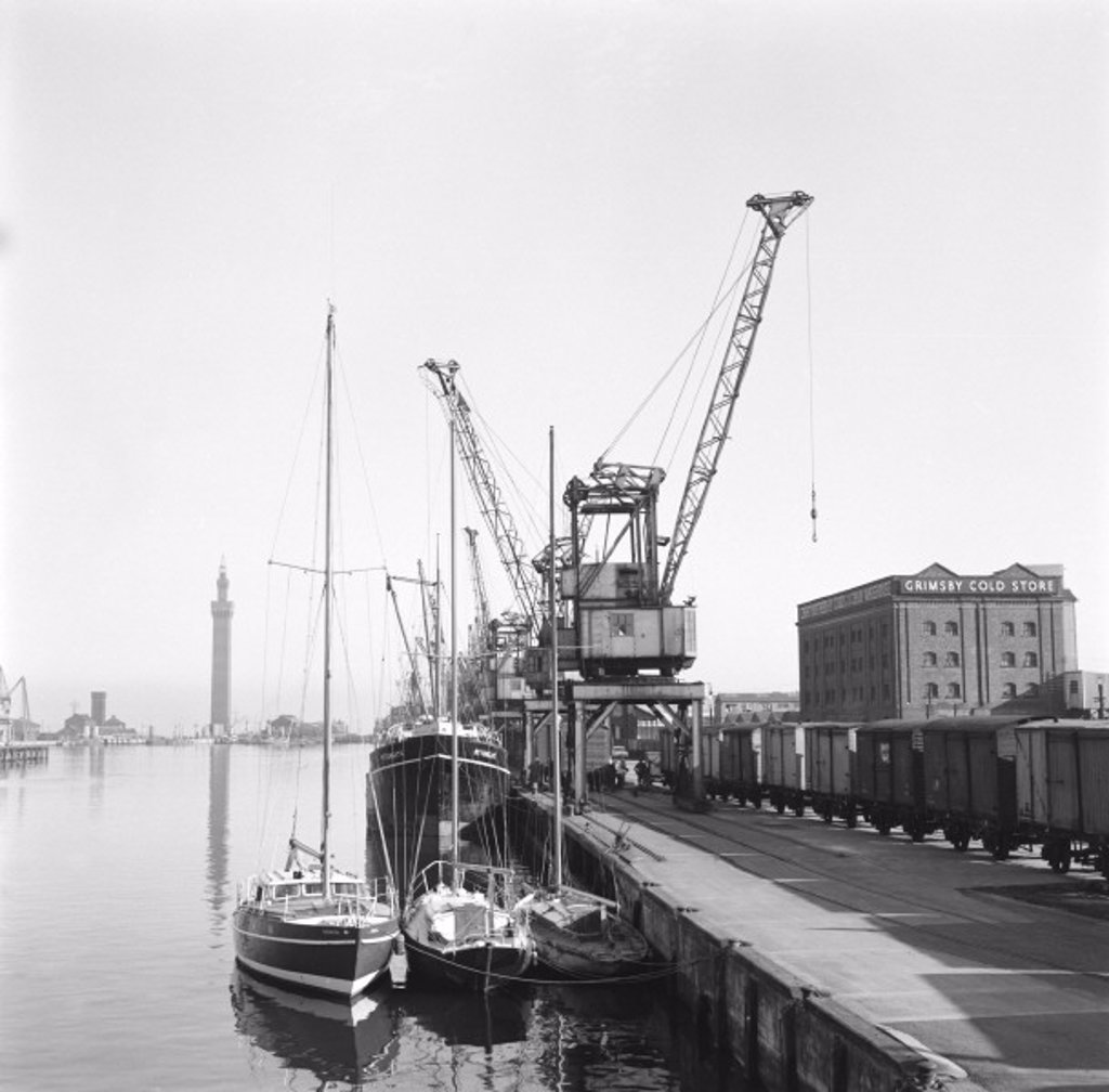 Grimsby docks, 1961 : Stock Photo