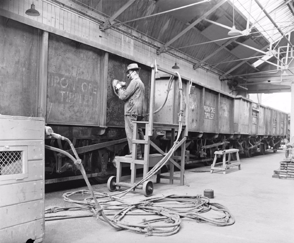Temple Mills wagon works, 1960 : Stock Photo