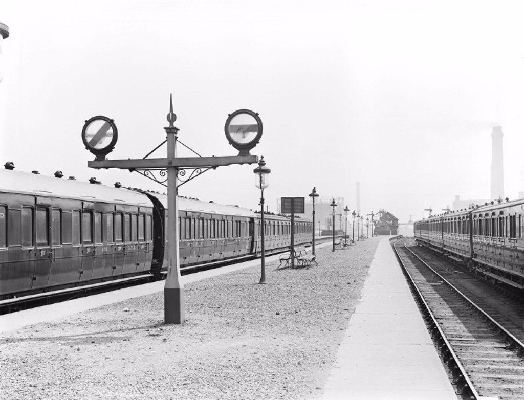 Signals at Blackpool station, 1922 : Stock Photo