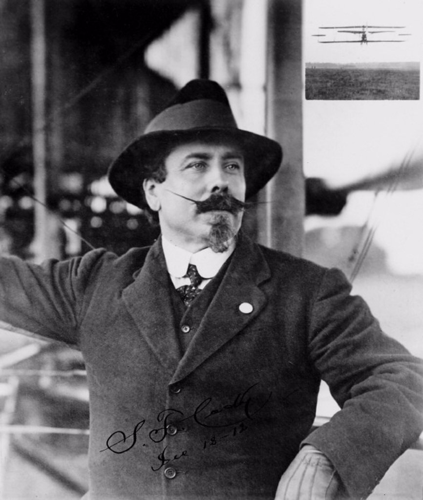 Stock Photo: 1895-3641 Samuel Franklin Cody, British aviator, 1912.