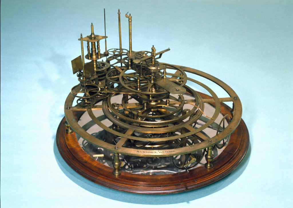 Gear work mechanism of an uncompleted orrery, 1762-1800. : Stock Photo