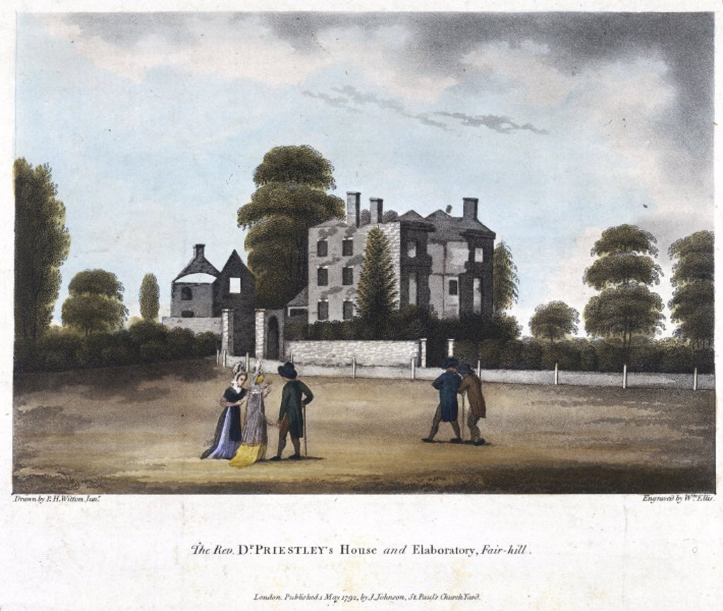 'The Rev Dr Priestley´s House and Elaboratory, Fair-Hill', c 1792. : Stock Photo