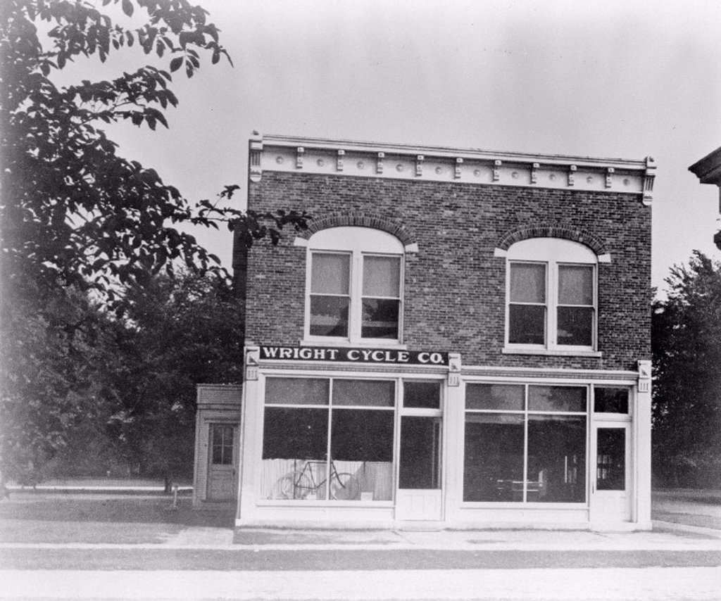 'Wright Brothers bicycle shop', shown after moving to Ford Museum, 1937. : Stock Photo