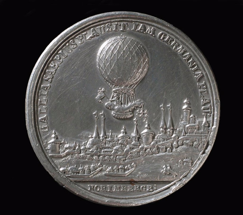 Medal commemorating the balloon ascent of Blanchard, Germany, 1787. : Stock Photo
