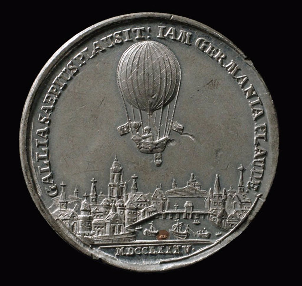 Medal commemorating the balloon ascent of Blanchard, Germany, 1785. : Stock Photo