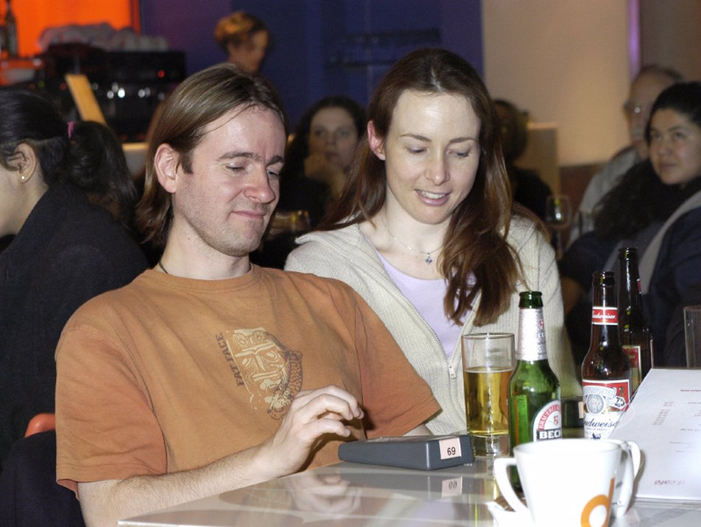 Stock Photo: 1895-38437 Participants at the 'Sinful Things' evening, Dana Centre, London, 2004.