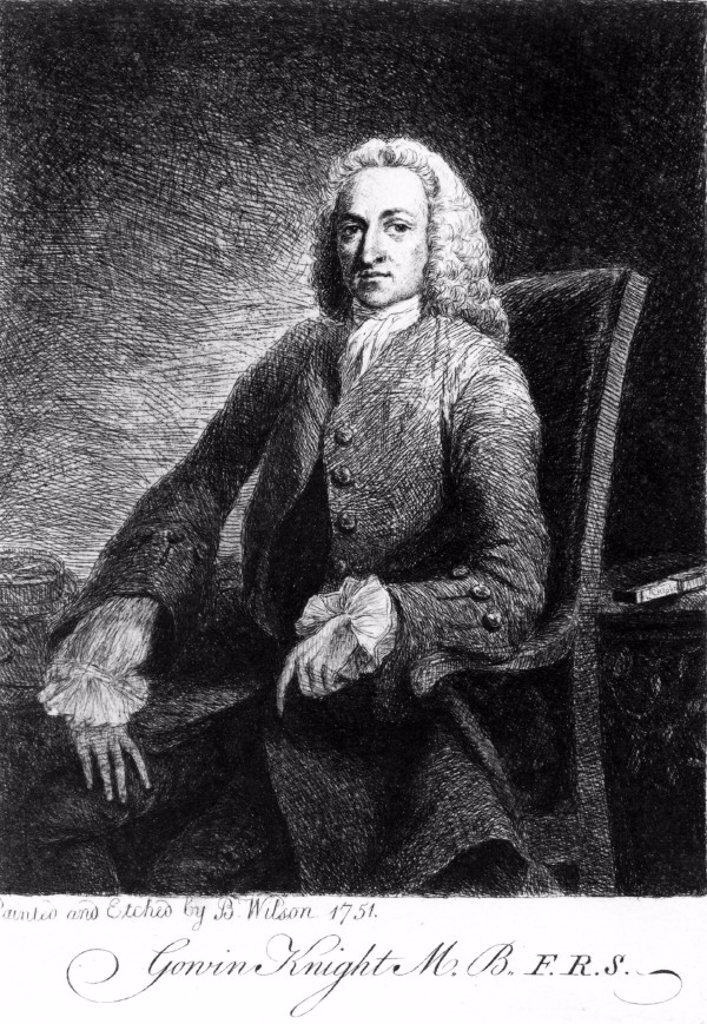 Gowin Knight, English physicist, 1751. : Stock Photo
