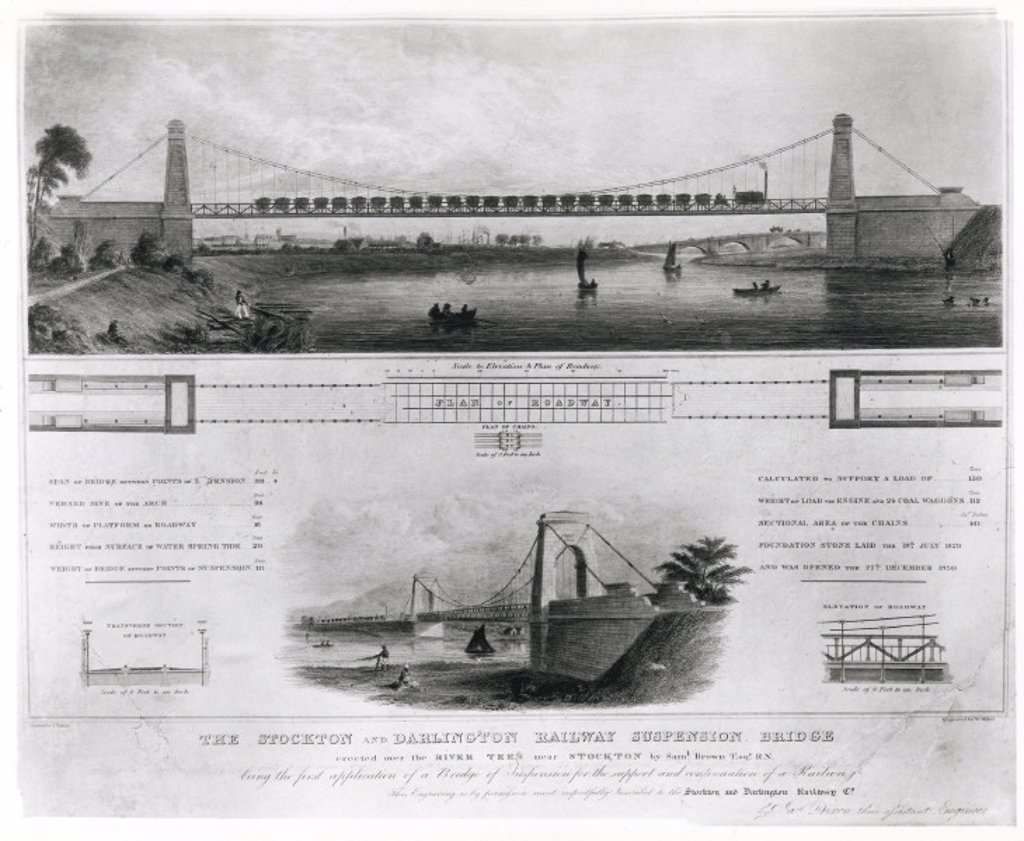 Railway suspension bridge, near Stockton, 19th century. : Stock Photo
