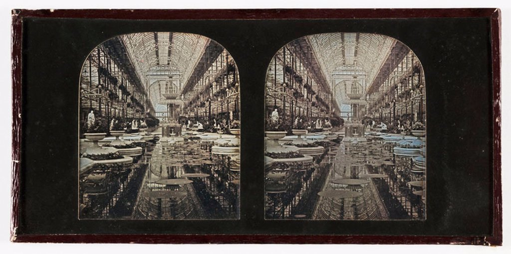 Stereo-daguerreotype of the Crystal Palace, Sydenham, c 1855. : Stock Photo