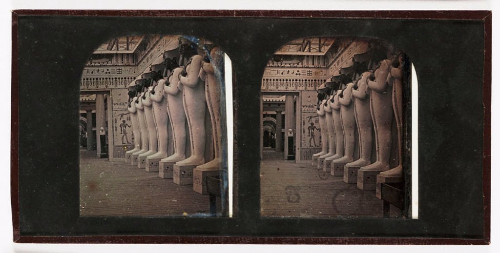 Stereo-daguerreotype of Osiris statues in the Crystal Palace, Sydenham, c 1855. : Stock Photo