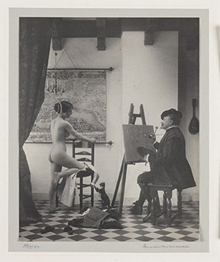'The artist and his model', 1914. : Stock Photo