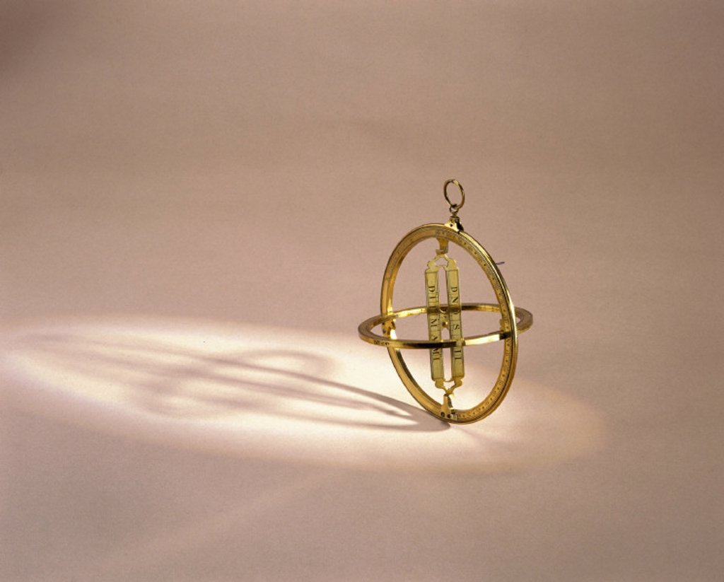 Universal equinoctial ring sun dial, 1710-1729. : Stock Photo