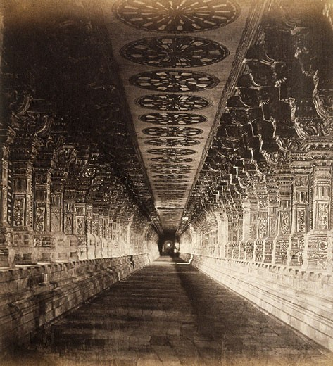 Colonnade at Ramesseum, c.1877 : Stock Photo