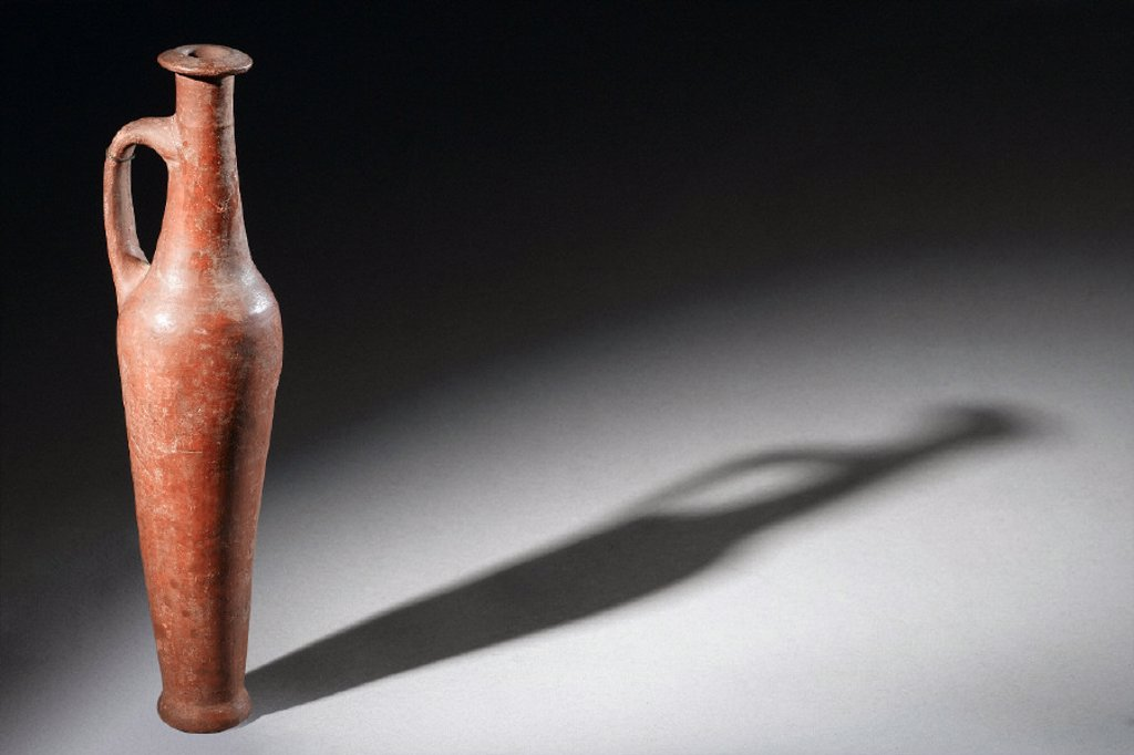 Stock Photo: 1895-42013 Red ware pottery flask, Syrian, 1500-1100 BC.