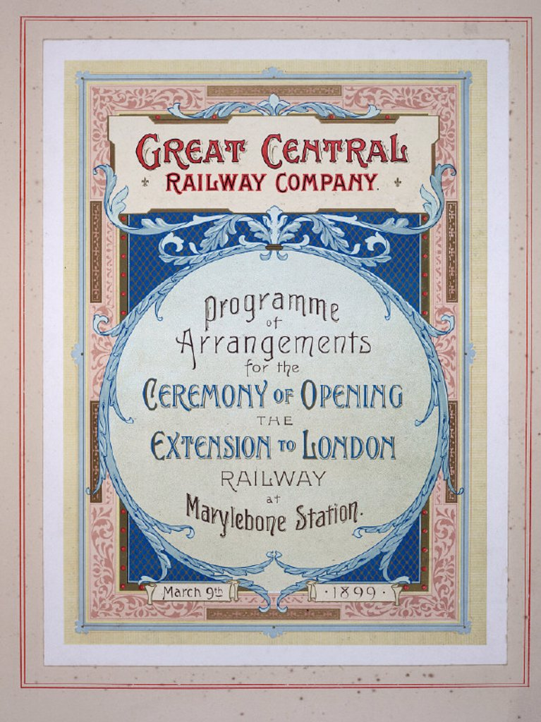 Great Central Railway Company leaflet, 1899. : Stock Photo