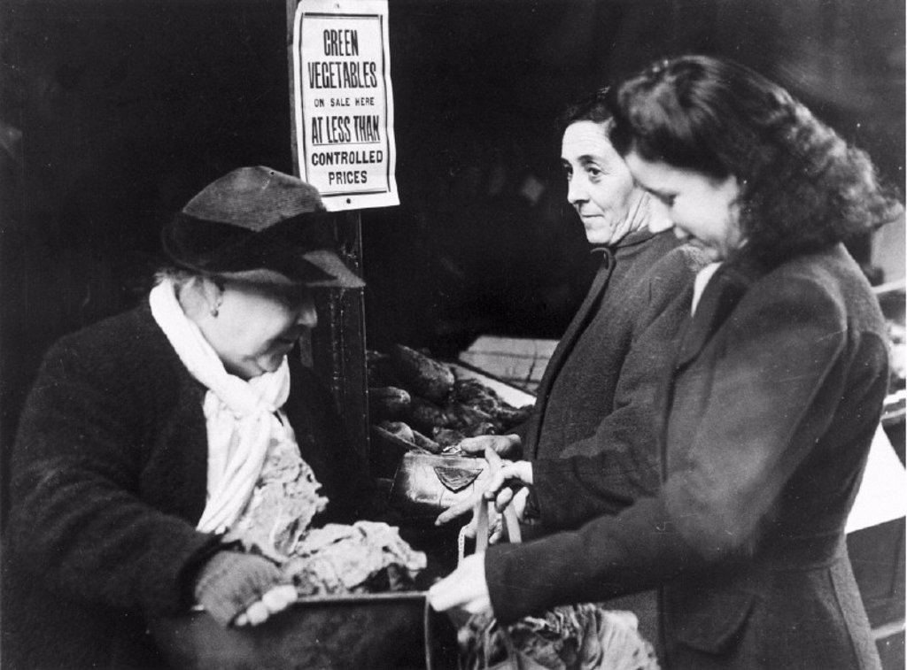 Women shopping for vegetables, 13 January 1943. : Stock Photo