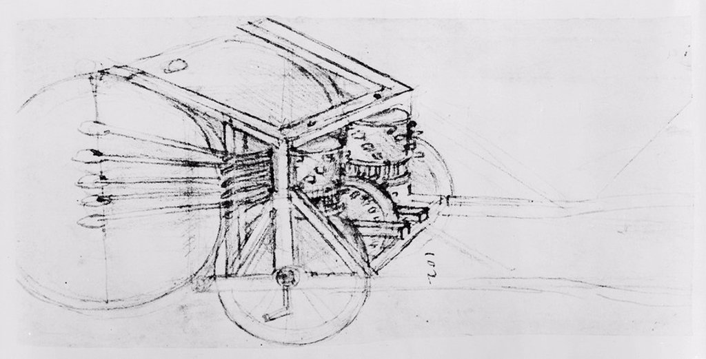 Stock Photo: 1895-42764 Sketch of a mechanical drum, 15th century