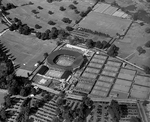 Stock Photo: 1895-42822 Aerial view of Wimbledon Tennis Club, London, July 1927.