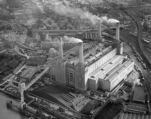 Stock Photo: 1895-42834 Aerial view of Battersea Power Station, London, September 1957.