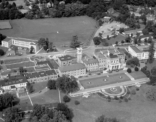 Stock Photo: 1895-42837 Aerial view of Bentley Priory, RAF Flight Command HQ, Middlesex, August 1966.