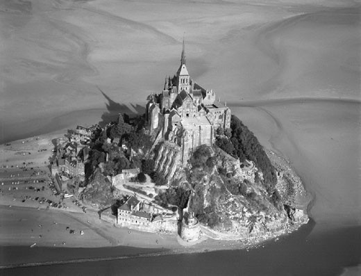 Aerial view of the abbey of Mont-Saint-Michel, north coast of France. : Stock Photo