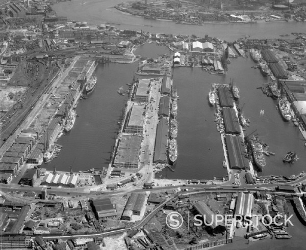 Stock Photo: 1895-42952 Aerial view of West India Docks, London, June 1962.