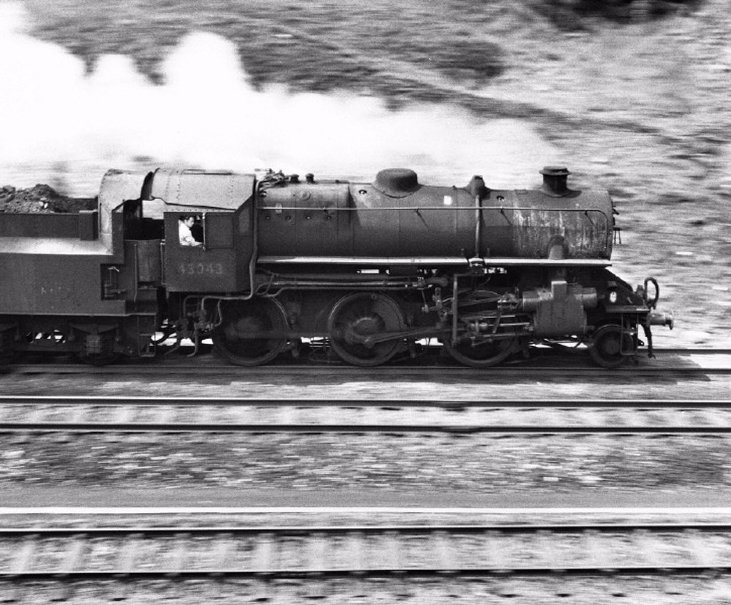 Steam locomotive heading north, 31 May 1967. : Stock Photo