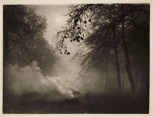 'Burning Leaves, Kensington Gardens', 1924. : Stock Photo