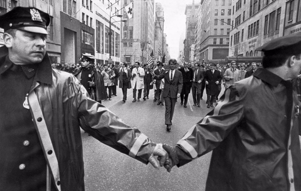 Stock Photo: 1895-43729 Robert Kennedy walking down Fifth Avenue, New York, March 1968.