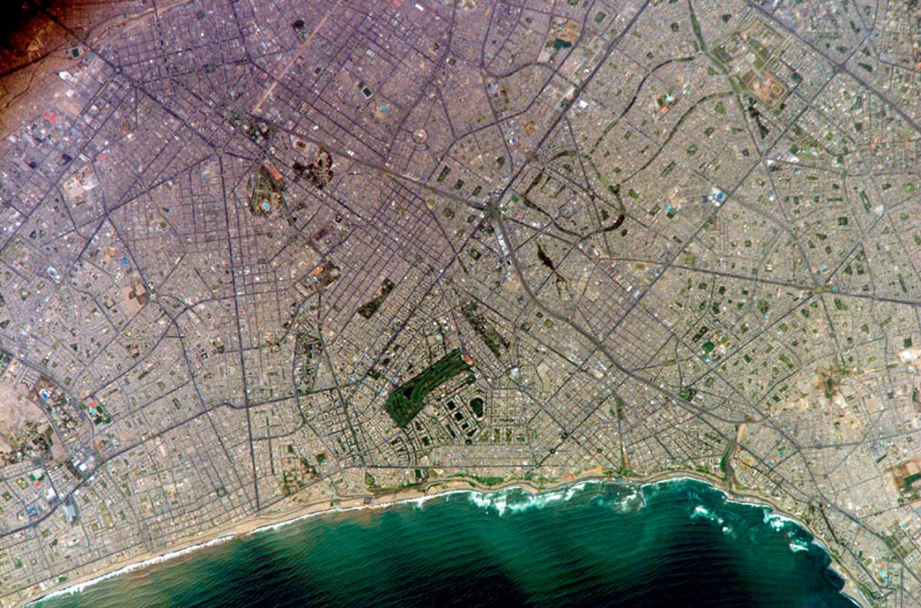 Stock Photo: 1895-44226 Lima, Peru, from the International Space Station, March 2005.