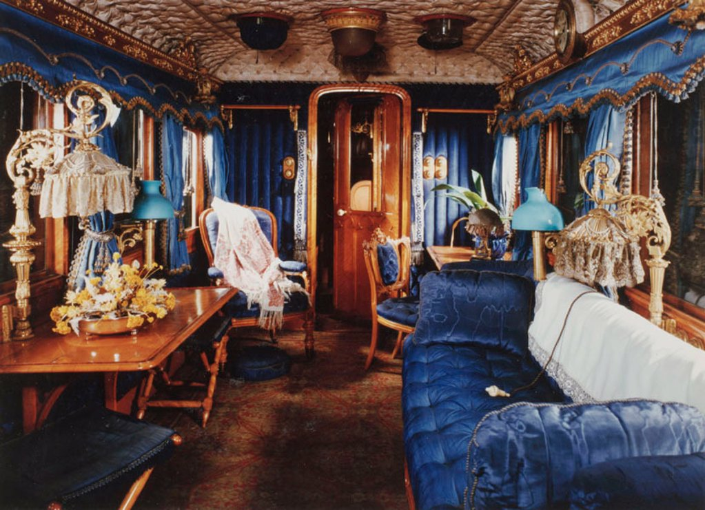 Queen Victoria's railway carriage, c 1890. : Stock Photo