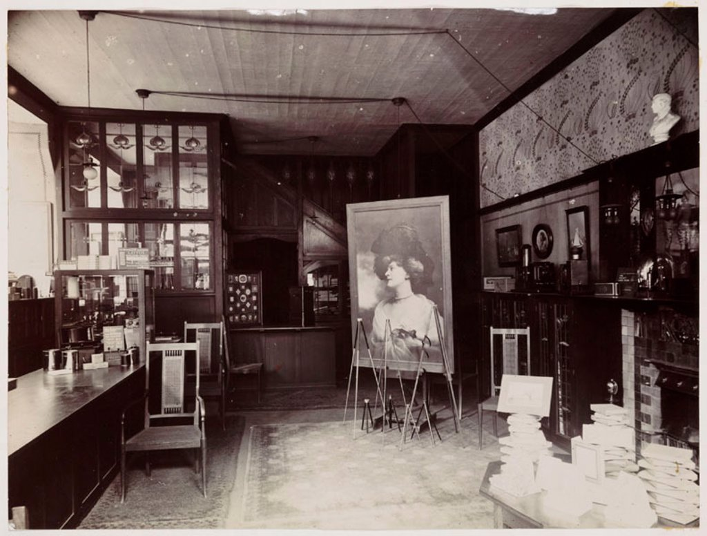 Kodak shop interior, c 1905. : Stock Photo