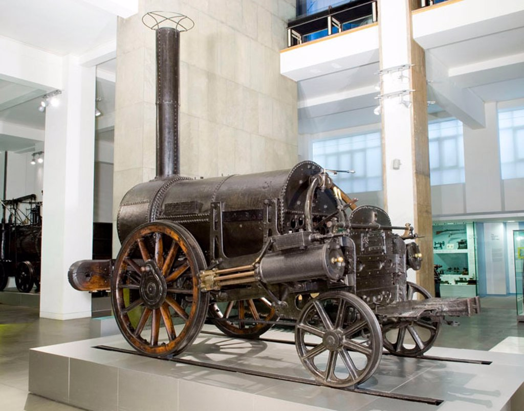 Stock Photo: 1895-45292 Stephenson's 'Rocket' (1829) on display at the Science Museum, 2006.