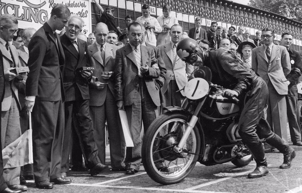 The Duke of Edinburgh at the Senior TT motorcycle race, 17 June 1949. : Stock Photo