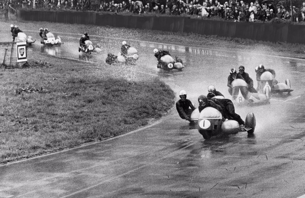 Motorcycle race, Oulton Park, Cheshire, August 1966. : Stock Photo