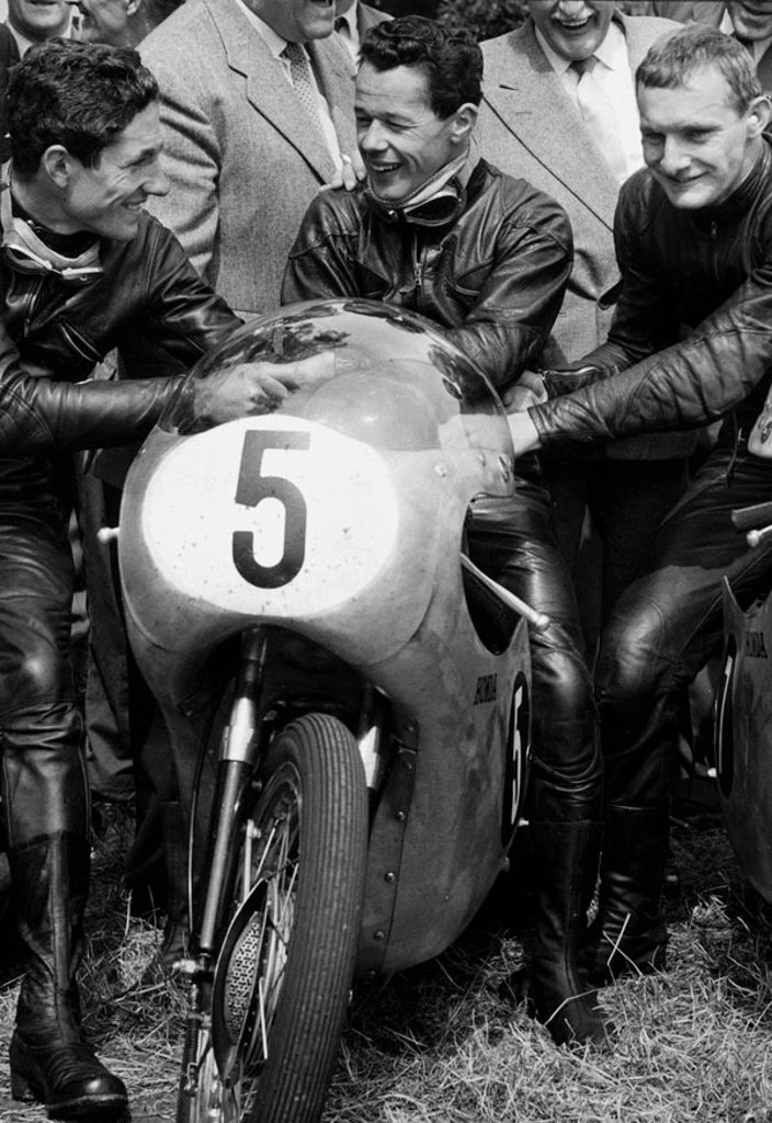 Motorcyclists, TT race, Isle of Man, June 1961. : Stock Photo